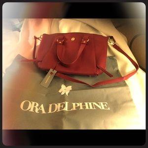 NWT Ora Delphine Raspberry Leather Satchel